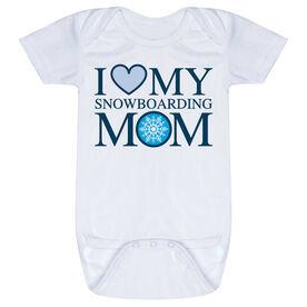 Snowboarding Baby One-Piece - I Love My Snowboarding Mom