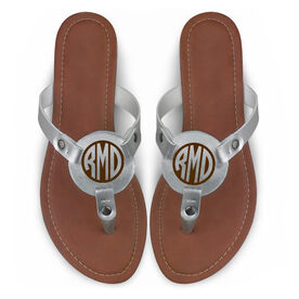 Personalized Engraved Thong Sandal Circle Monogram