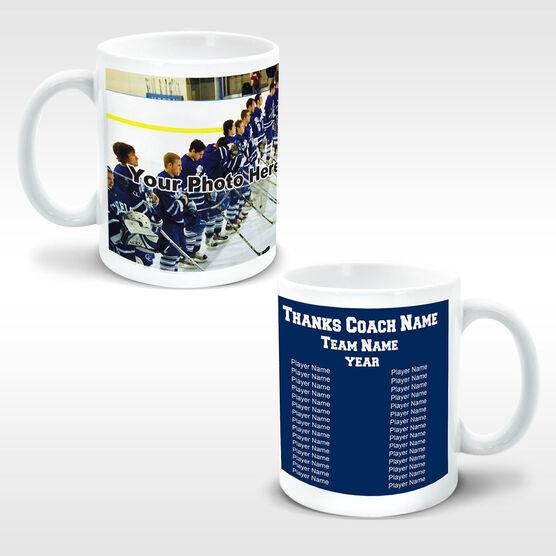Hockey Coffee Mug Thanks Coach Custom Photo With Team Roster