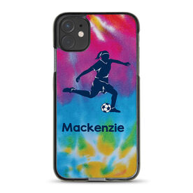 Soccer iPhone® Case - Personalized Soccer Girl With Tie Dye