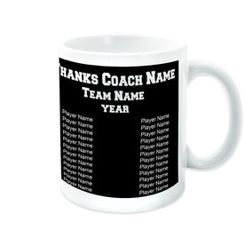Soccer Coffee Mug Thanks Coach Custom Logo With Team Roster