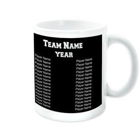 Softball Coffee Mug Thanks Coach Crossed Bats With Team Roster