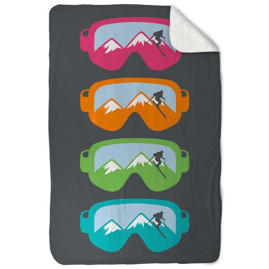 Skiing & Snowboarding Sherpa Fleece Blanket - Multicolored Snow Goggles