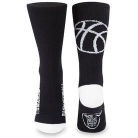 Basketball Woven Mid-Calf Socks - Ball Silhouette (Black/White)