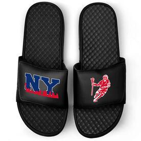 Guys Lacrosse Black Slide Sandals - NY Lacrosse