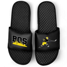 Hockey Black Slide Sandals - Boston Hockey