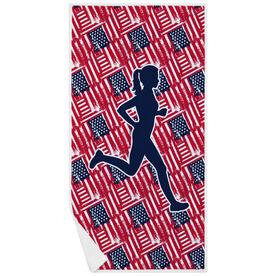 Running Premium Beach Towel - USA Runner Girl