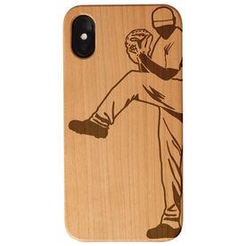 Baseball Engraved Wood IPhone® Case - Pitcher