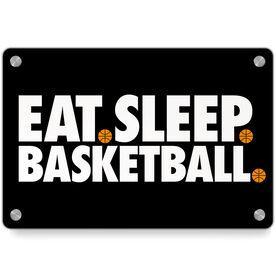 Basketball Metal Wall Art Panel - Eat Sleep Basketball