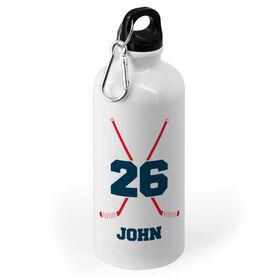 Hockey 20 oz. Stainless Steel Water Bottle - Personalized Hockey Crossed Sticks
