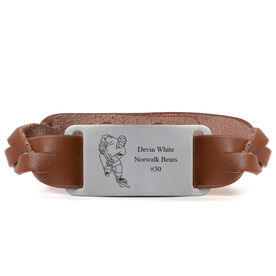 Hockey Leather Bracelet with Engraved Plate - Personalized Player