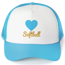 Softball Trucker Hat Heart with Glitter