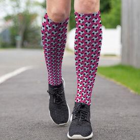 Soccer Printed Knee-High Socks - Heart Pattern