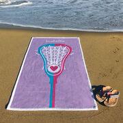 Girls Lacrosse Premium Beach Towel - Stick Heart