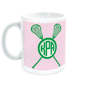 Girls Lacrosse Coffee Mug Personalized Monogram with Crossed Sticks and Chevron Pattern