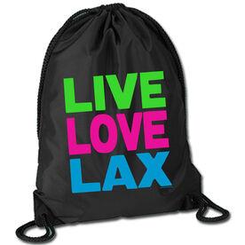 Lacrosse Sport Pack Cinch Sack Live Love Lax Neon