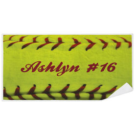 Softball Premium Beach Towel - Personalized Stitches
