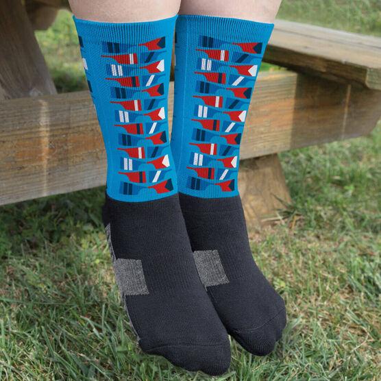Crew Printed Mid-Calf Socks - Oar Repeat Pattern