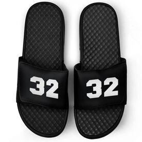 Personalized Black Slide Sandals - Your Number