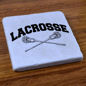 Lacrosse Crossed Sticks - Stone Coaster