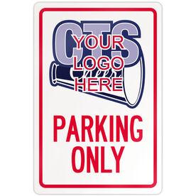 "Cheerleading 18"" X 12"" Aluminum Room Sign Custom Cheerleading Logo Parking Only"