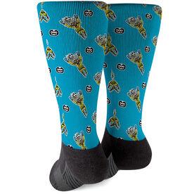 Seams Wild Soccer Printed Mid-Calf Socks - Blockler (Pattern)