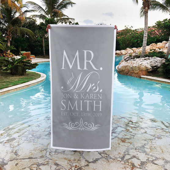 Personalized Premium Beach Towel - Our Wedding Day Cheers