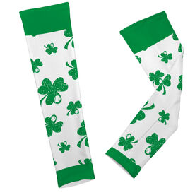 Baseball Printed Arm Sleeves Shamrock All Over Pattern With Baseballs