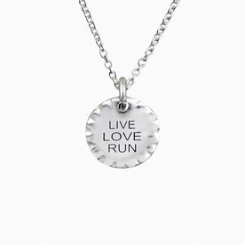 Livia Collection Sterling Silver Scalloped Live Love Run Necklace