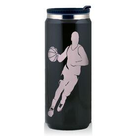 Stainless Steel Travel Mug Basketball Guy Dribbling Silhouette