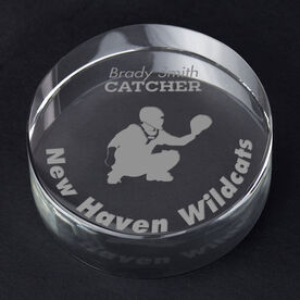 Baseball Personalized Engraved Crystal Gift - Player Silhouette with Custom Text (Catcher)