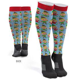 Printed Knee-High Socks - Jolly Elves