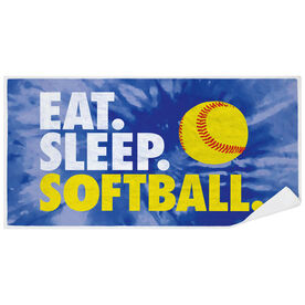 Softball Premium Beach Towel - Eat. Sleep. Softball Tie-Dye
