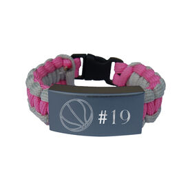 Basketball Paracord Engraved Bracelet - Basketball Ball With 1 Line/Pink