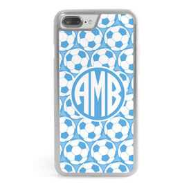 Soccer iPhone® Case - Monogram With Soccer Ball Pattern