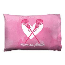 Girls Lacrosse Pillowcase - Watercolor Heart