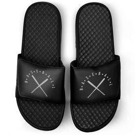 Baseball Black Slide Sandals - Baseball With Crossed Bats