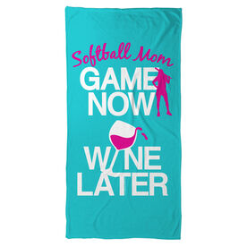 Softball Beach Towel Game Now Wine Later with Player