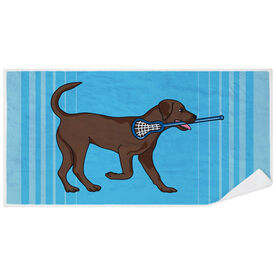 Guys Lacrosse Premium Beach Towel - Lacrosse Dog