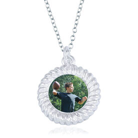 Football Braided Circle Necklace - Custom Photo