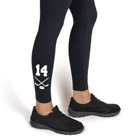 Hockey Leggings Crossed Sticks with Number