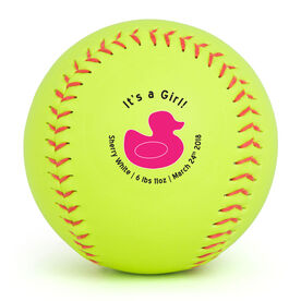 Personalized Softball - It's A Girl! Duckie
