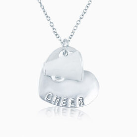 Silver Cheer Sport Heart and White Enamel Megaphone Necklace