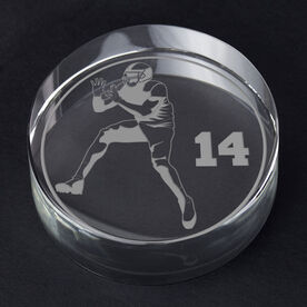 Football Personalized Engraved Crystal Gift - Personalized Silhouette (Reciever)