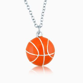 Silver/Orange Enameled Basketball Necklace