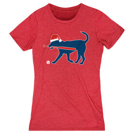 Softball Women's Everyday Tee - Play Ball Christmas Dog