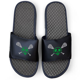 Lacrosse Navy Slide Sandals - Sticks & Skull