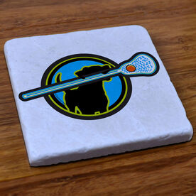 Lacrosse Dog - Natural Stone Coaster