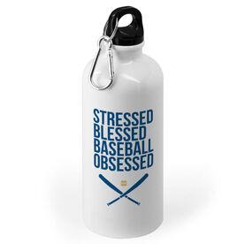 Baseball 20 oz. Stainless Steel Water Bottle - Stressed Blessed Baseball Obsessed