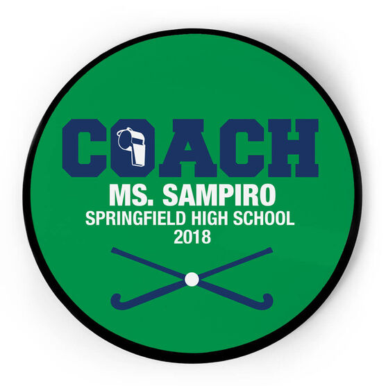 Field Hockey Circle Plaque - Coach With 3 Lines